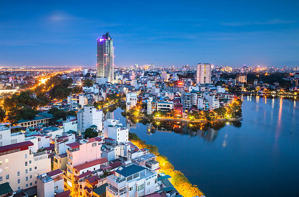 City lights One corner of Hanoi when the city lights up hanoi stock pictures, royalty-free photos & images