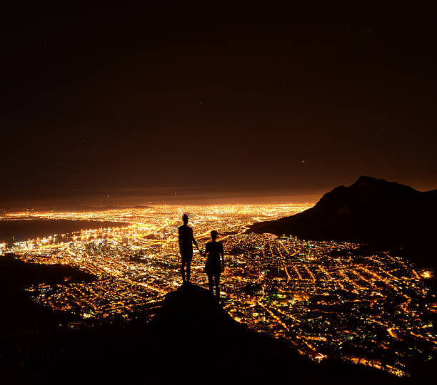 city lights - cape peninsula stock pictures, royalty-free photos & images