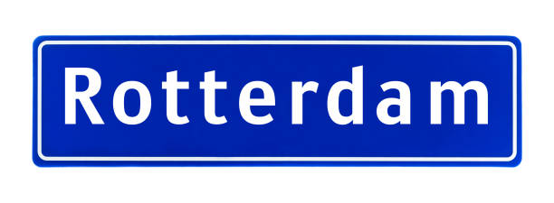 city limit sign of rotterdam, the netherlands isolated on a white background - place sign stock pictures, royalty-free photos & images