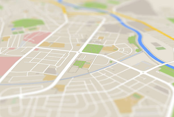 city map 3d abbildung bild - karte navigationsinstrument stock-fotos und bilder