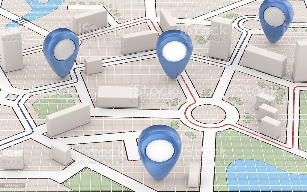 Carte de la ville et des pointeurs bleu - Photo