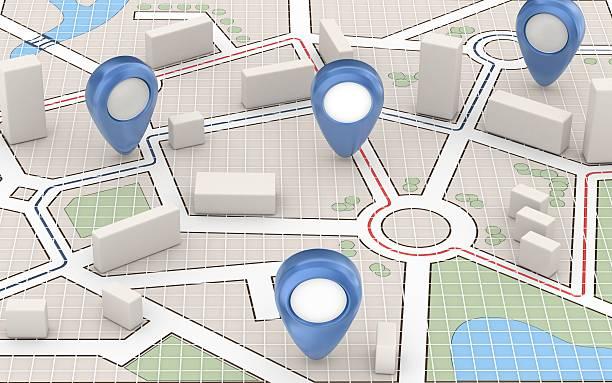 carte de la ville et des pointeurs bleu - baguette pour pointer photos et images de collection