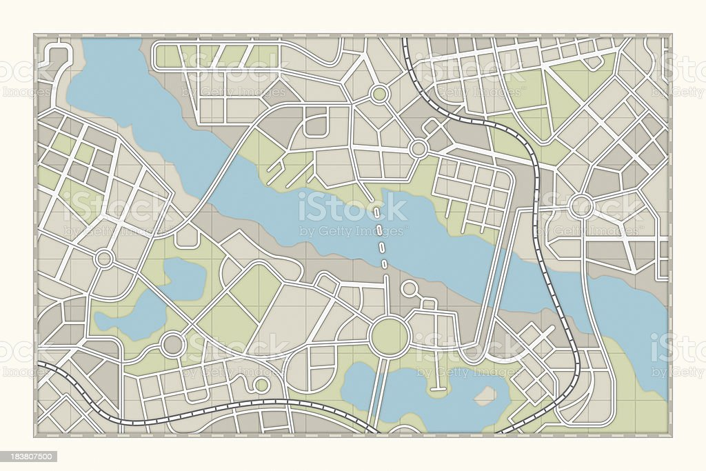 city map isolated city map.3d render.See also: Aerial View Stock Photo