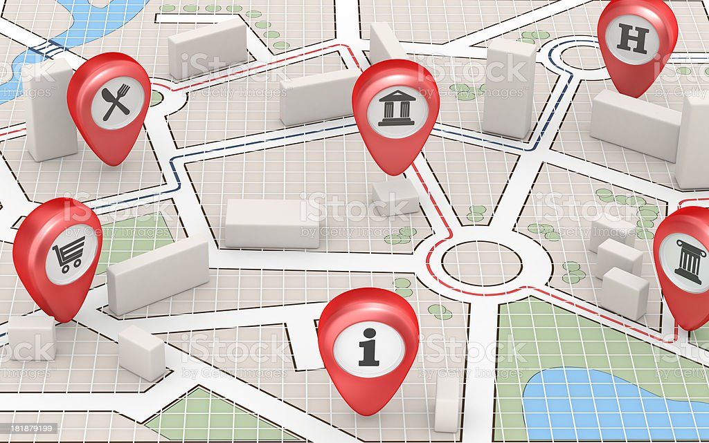 City Map - Public Places and Buildings royalty-free stock photo