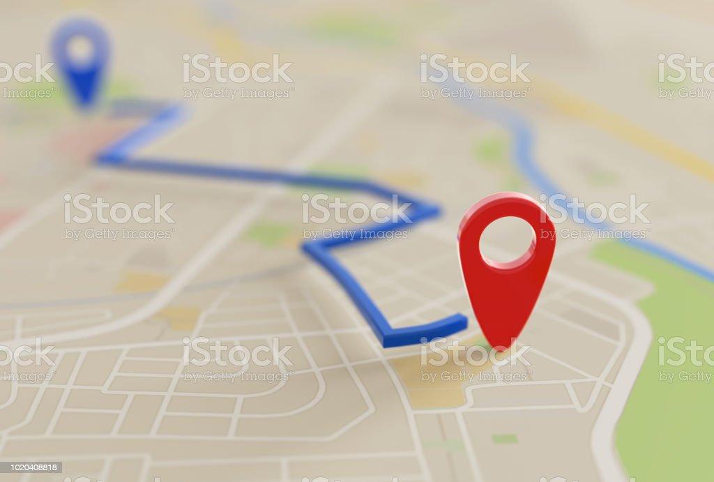 ピン付きのシティマップポインター画像 3 D 完成予想図 - 道路地図のロイヤリティフリーストックフォト