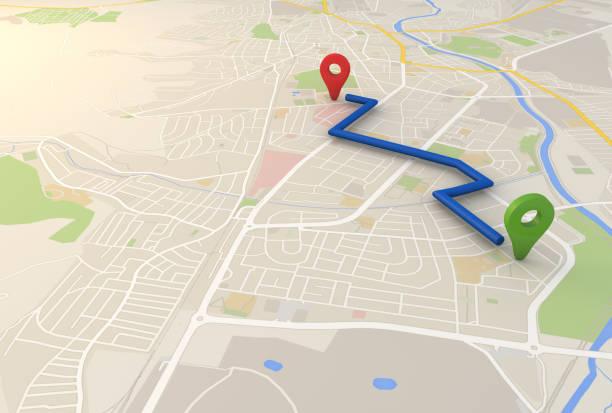 stadtplan mit pin pointers 3d-renderingbild - karte navigationsinstrument stock-fotos und bilder