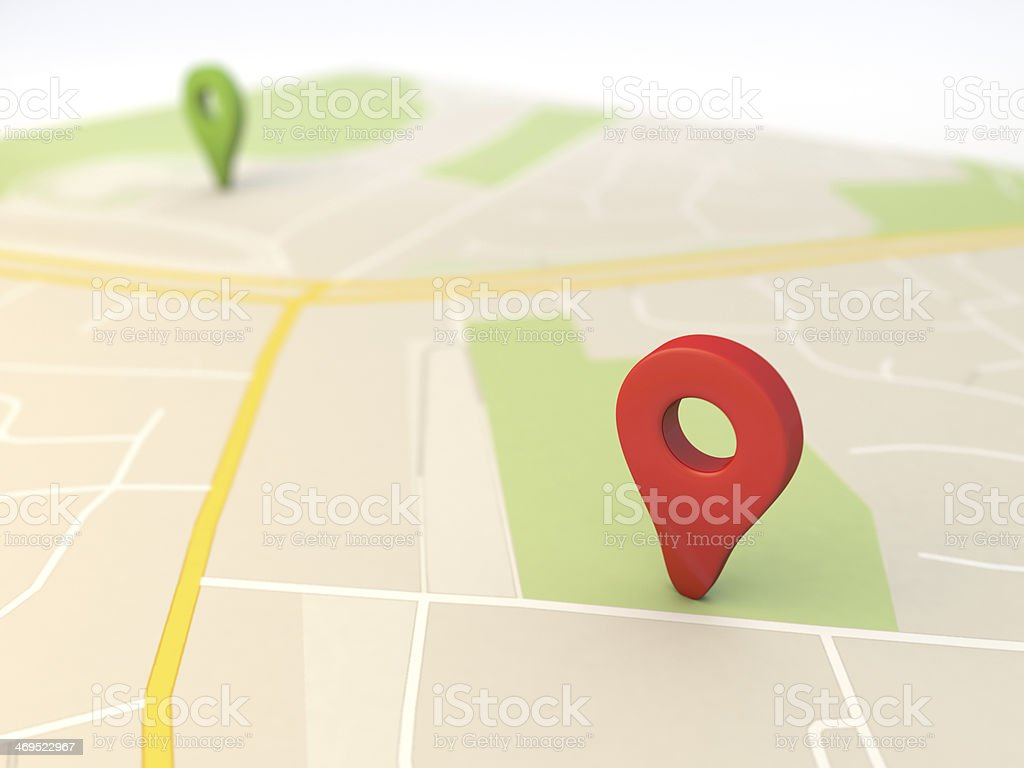 city map with Pin Pointers 3d rendering image stock photo
