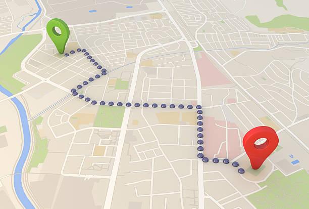 mapa de la ciudad con contactos de punteros 3d procesamiento de imagen - sistema de posicionamiento global fotografías e imágenes de stock