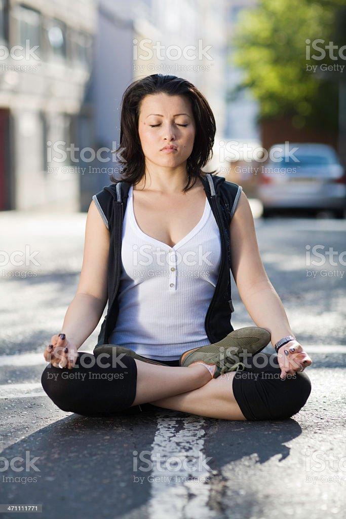 City meditation royalty-free stock photo