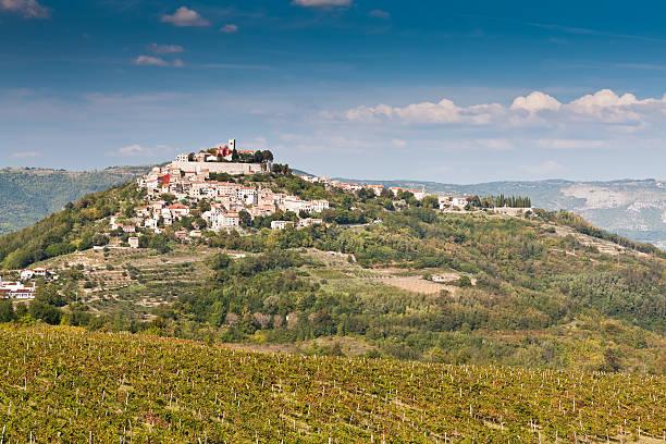 City Motovun on hill top in Istria peninsula, Croatia stock photo