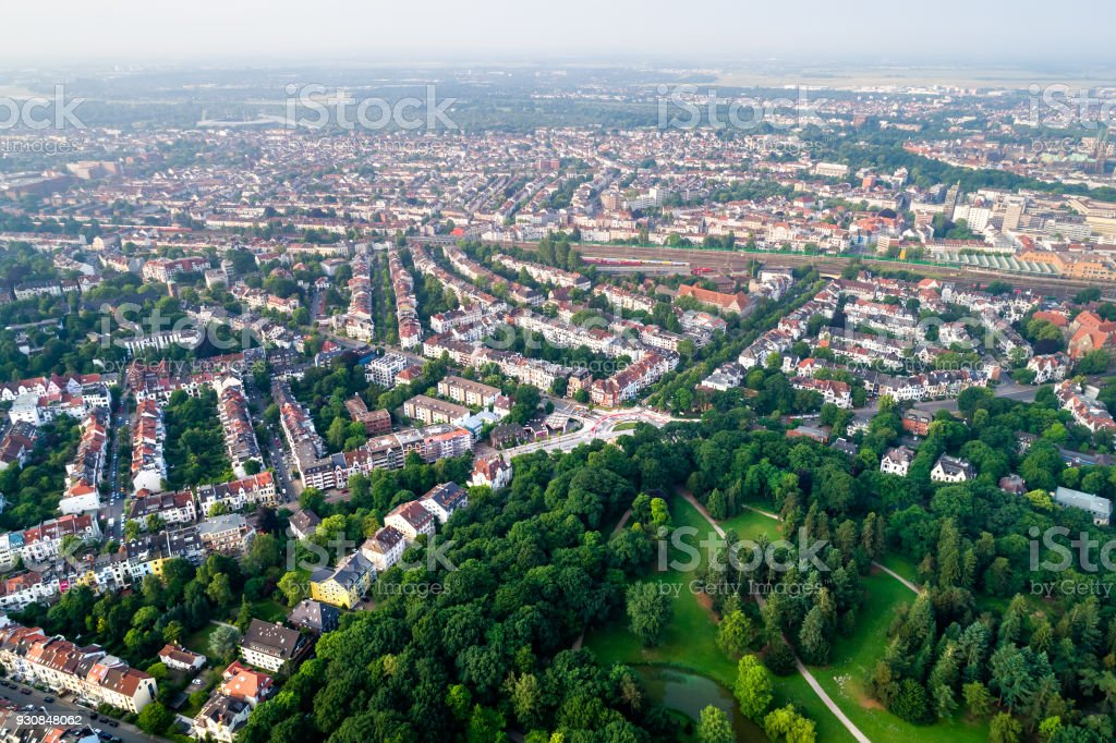 City Municipality of Bremen Aerial FPV drone footage. Bremen is a major cultural and economic hub in the northern regions of Germany. stock photo