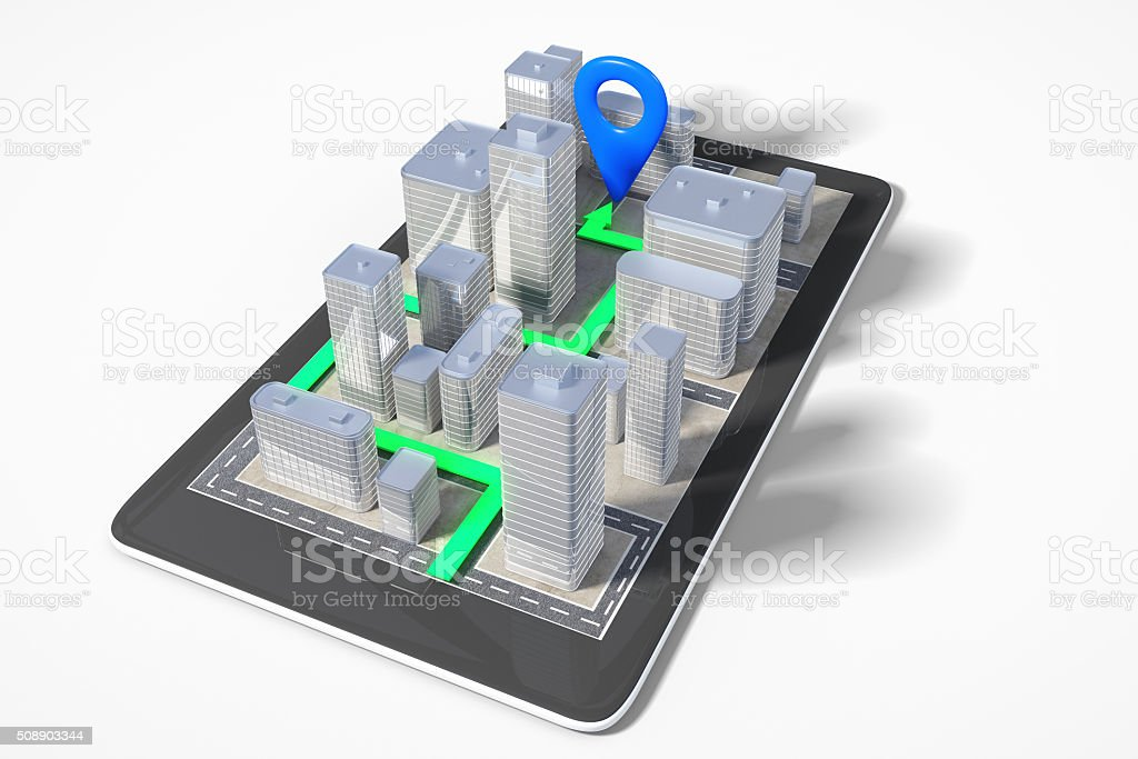 City navigation concept with cell phone with 3D buildings stock photo