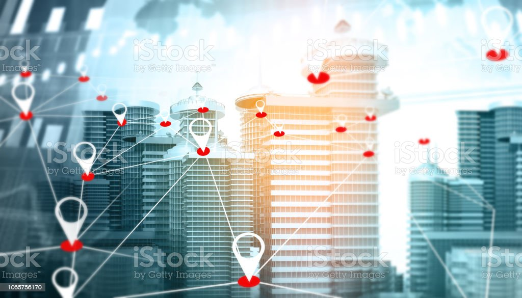 Mapa de navegación de la ciudad foto de stock libre de derechos