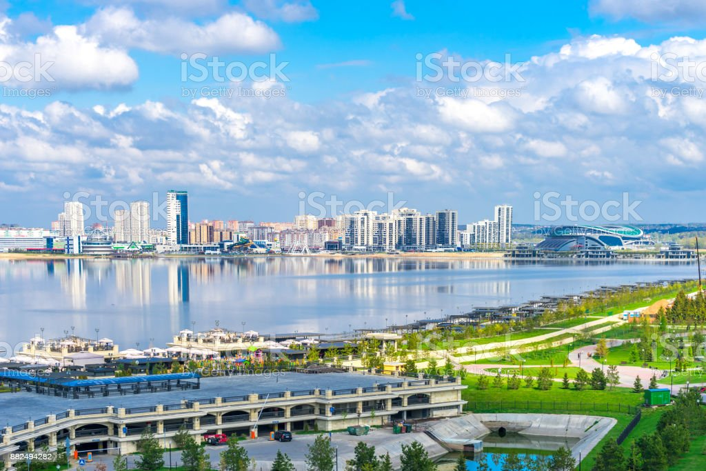 City near the lake in Kazan royalty-free stock photo
