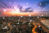 shanghai city skyline with network communication