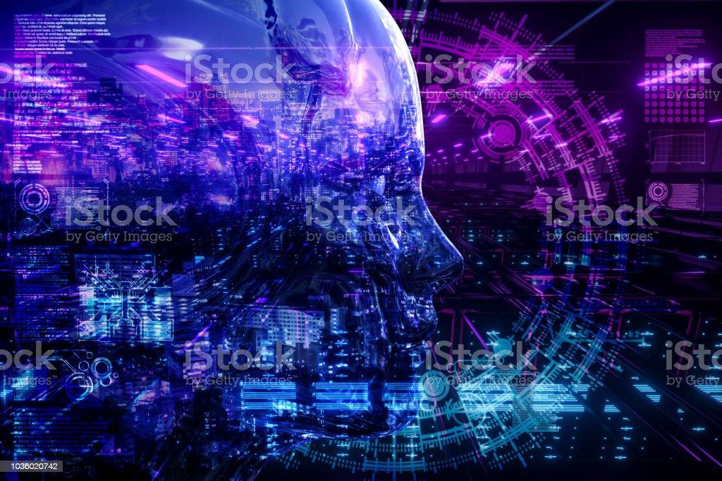 AI city Network Server Technology stock photo