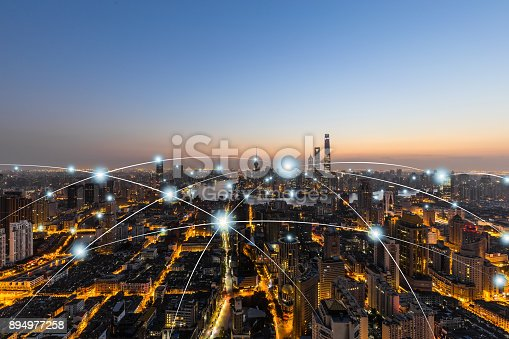 istock City network technology in Shanghai,China 894977258