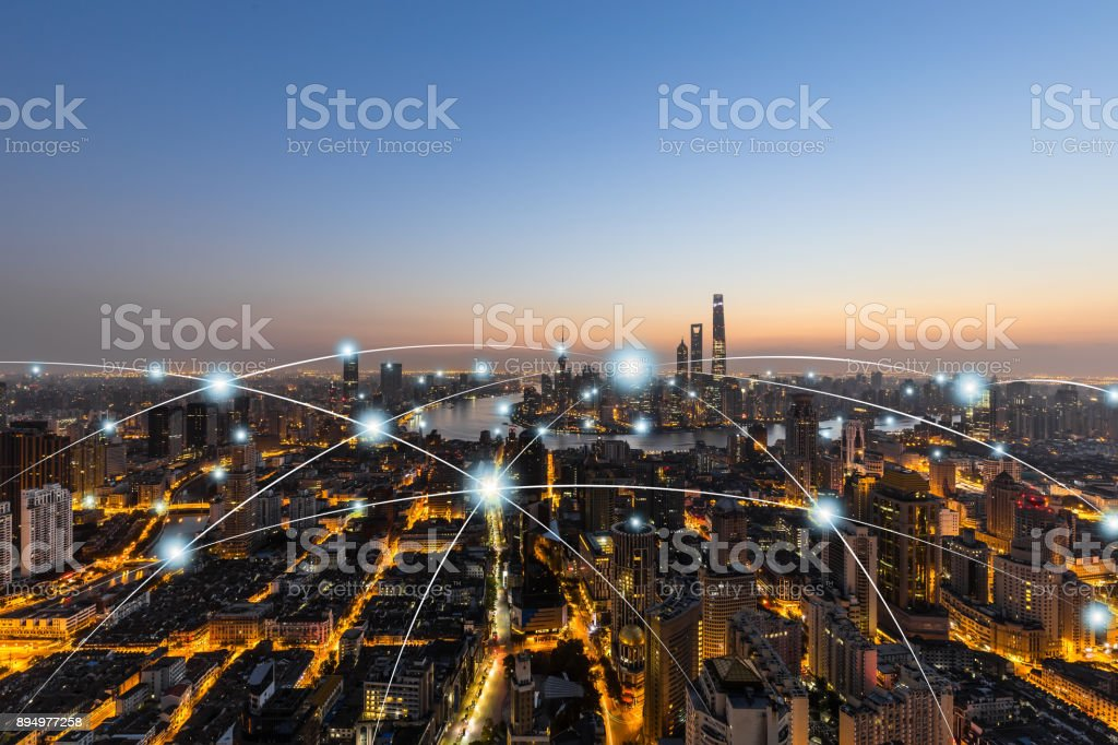City network technology in Shanghai,China stock photo