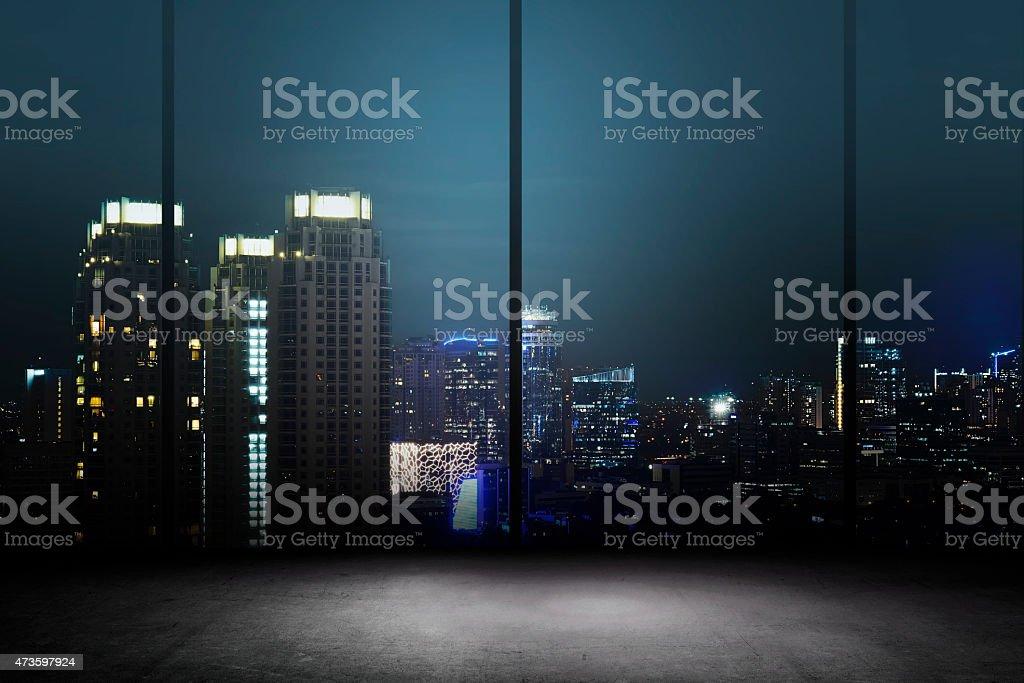 City Night Background Inside Office Building stock photo