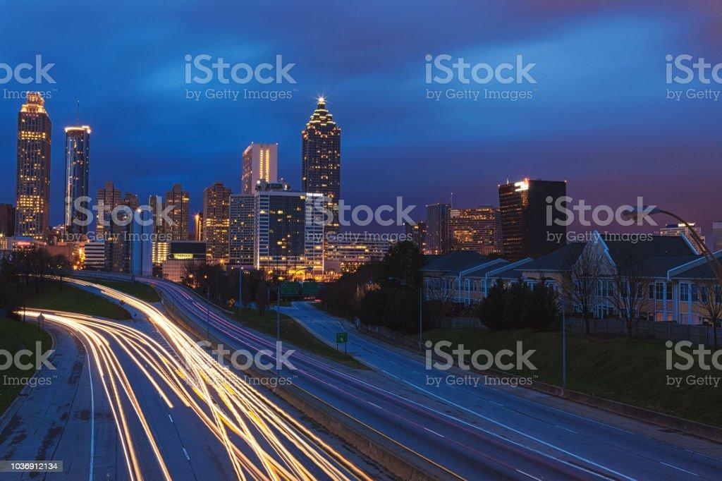 City night light streaks on the iconic skyline stock photo