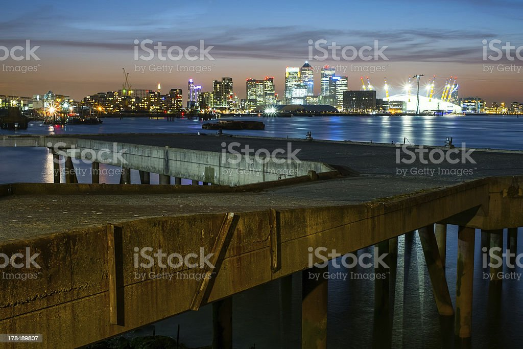 City nights on the river thames stock photo