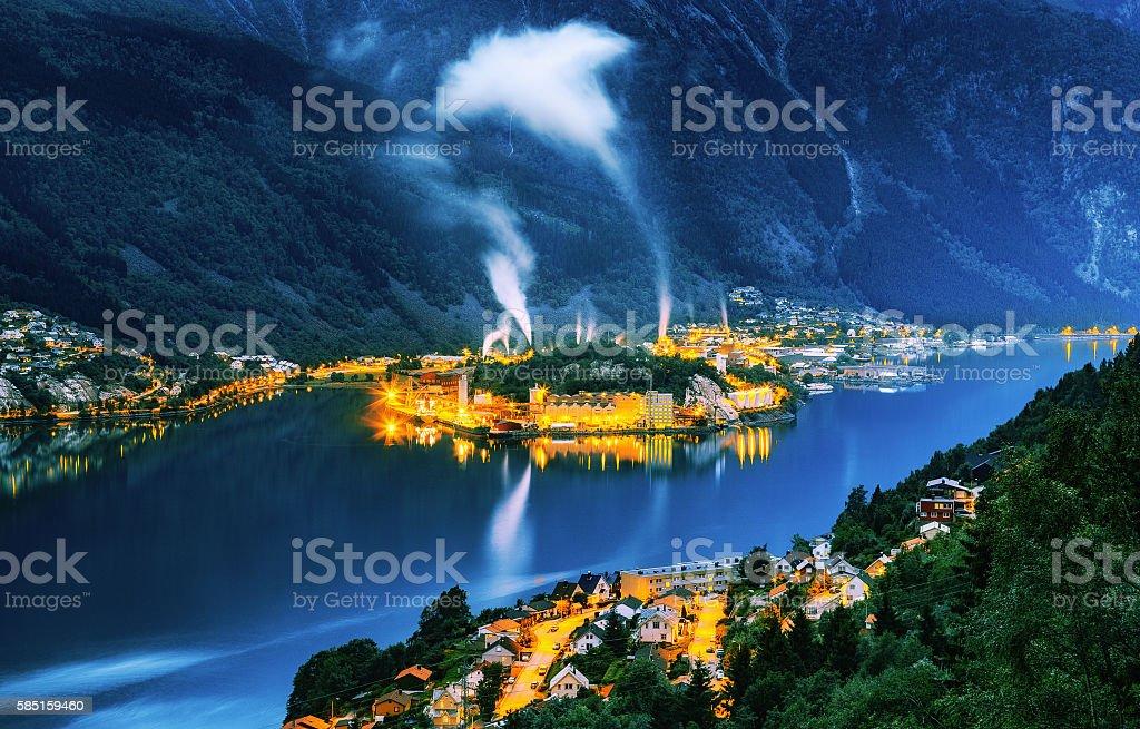 City Odda, Norway. stock photo