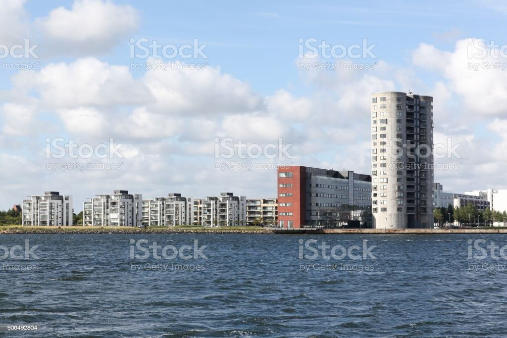City of Aalborg with Limfjord in Denmark stock photo
