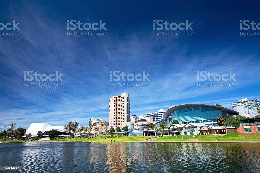 City of Adelaide skyline against a sunny clear sky stock photo