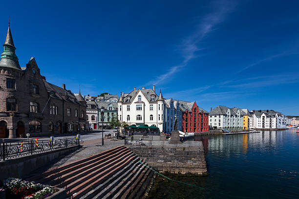City of Alesund in Norway stock photo