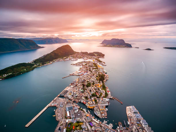 City of Alesund Norway Aerial footage stock photo