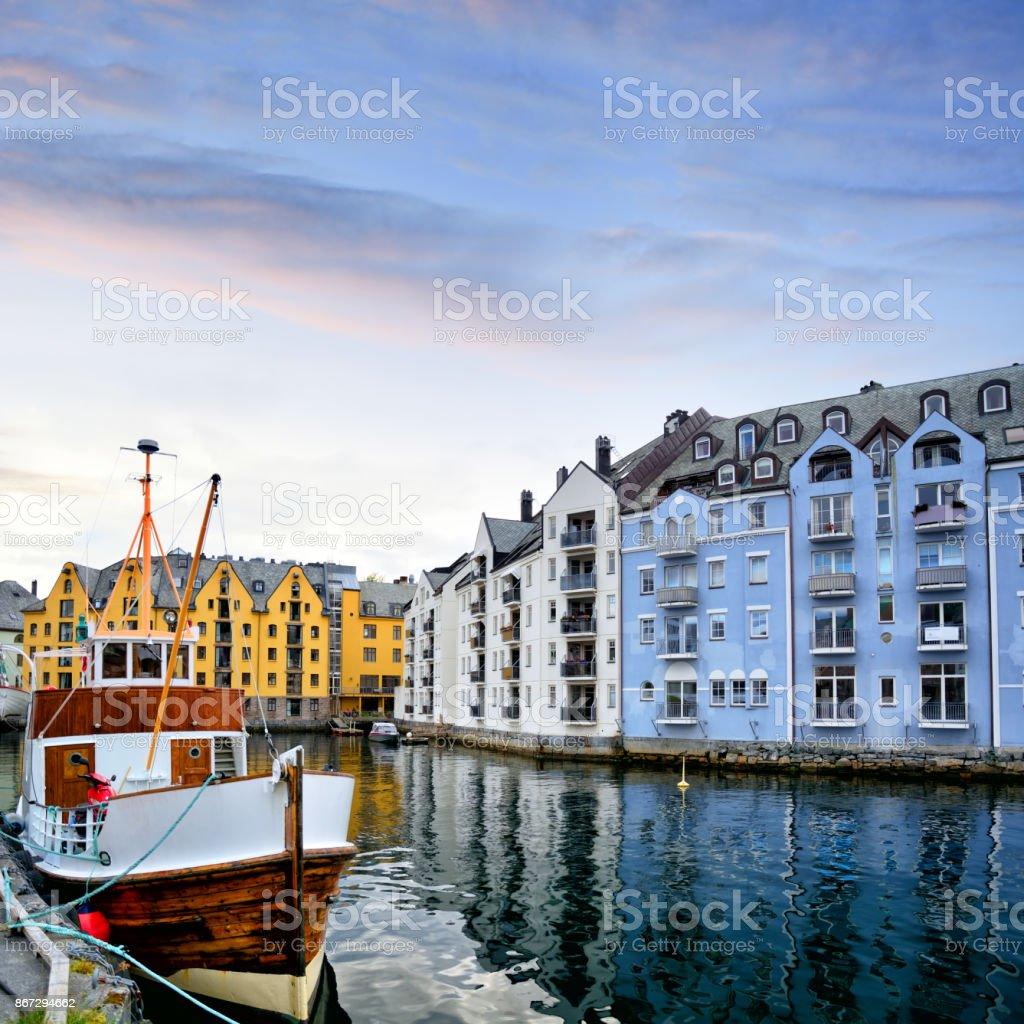 City of Alesund, Norway stock photo