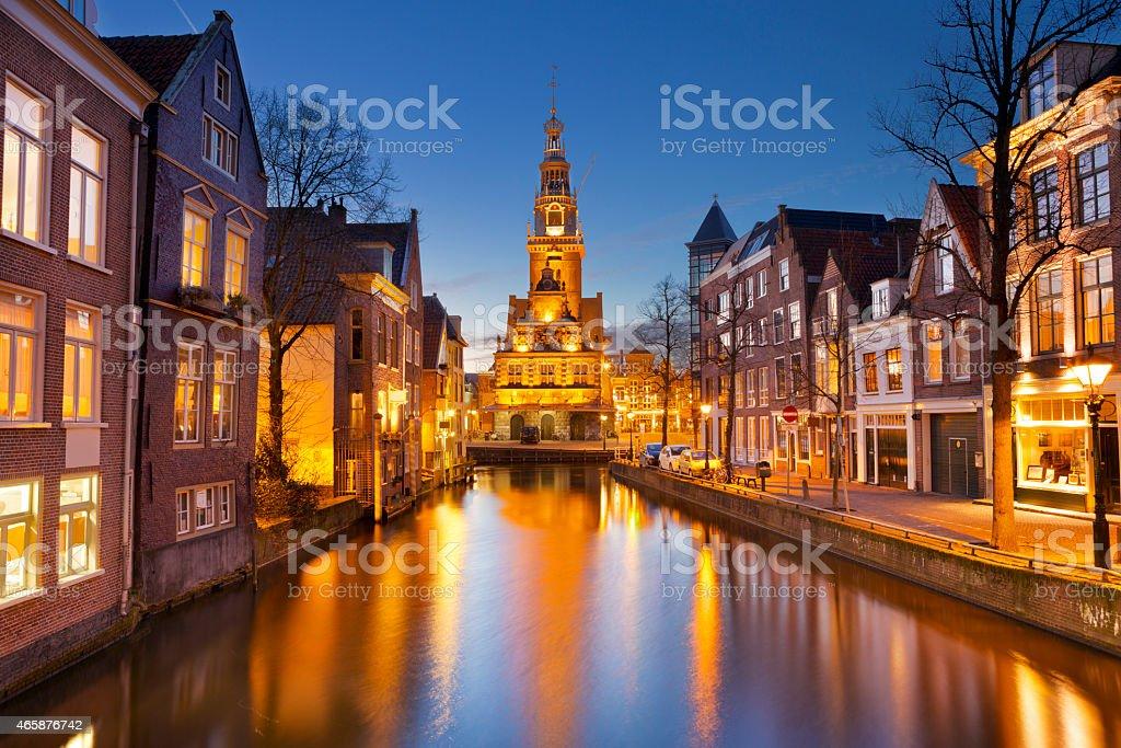 City of Alkmaar, The Netherlands at night stock photo