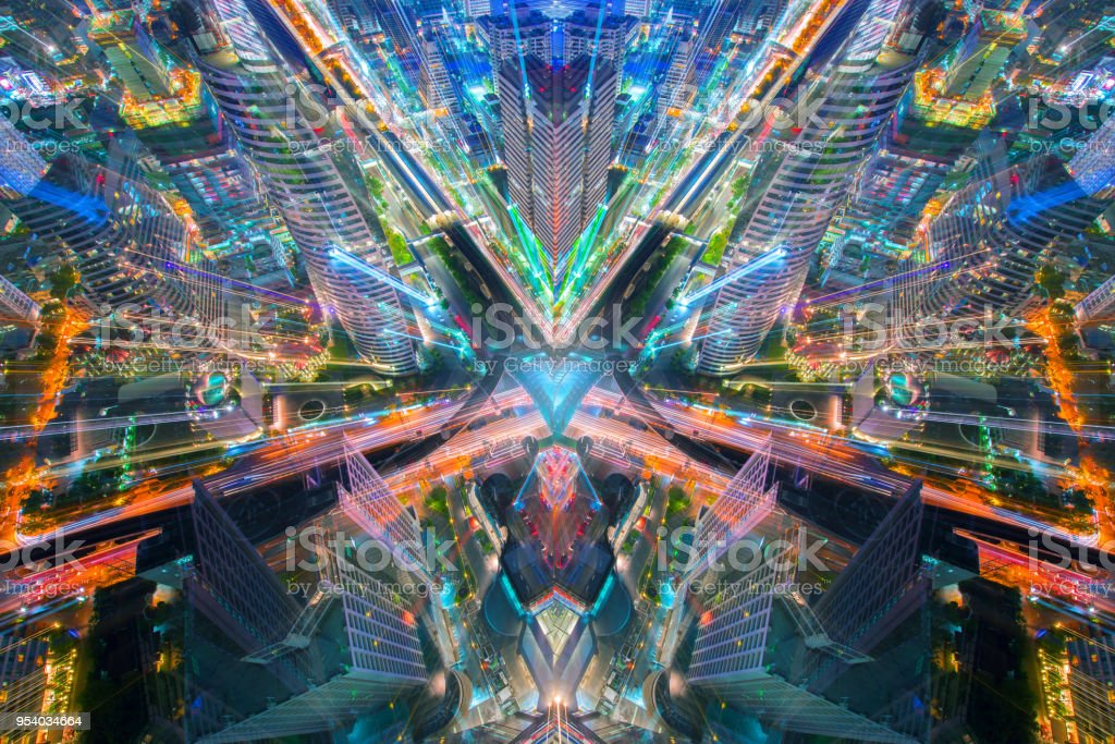 City of art abstract style in business sci fi concept. stock photo