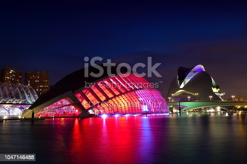 Valencia, Spain - May 11, 2018: L'Hemisfèric and El Palau de les Arts Reina Sofía in the background  in the city of arts and sciences created by architects Santiago Calatrava and Felix Candela.