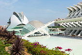 Valencia, Spain - May 28, 2017: The City of Arts and Sciences is an ensemble of six areas in the dry river bed of the now diverted River Turia in Valencia, Spain. Designed by Valencian architect Santiago Calatrava and started in July 1996, it is an impressive example of modern architecture.