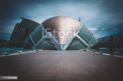 Valencia, Spain - April 14. 2019. View of City of Arts and Sciences. Futuristic modern architectural complex.