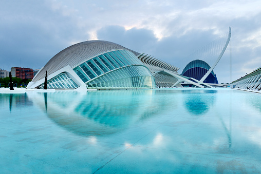 Wide angle view of the City of Arts and Sciences, Valencia, Spain, Europe