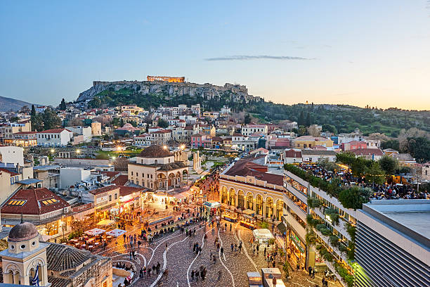 city of athens and acropolis by evening - athens stockfoto's en -beelden