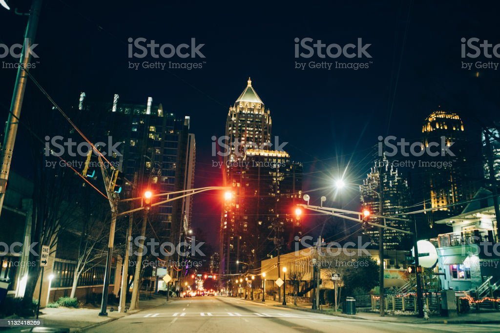 City of Atlanta at night stock photo