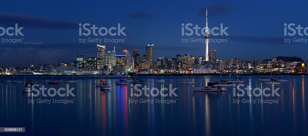 City of Auckland, New Zealand, at night stock photo