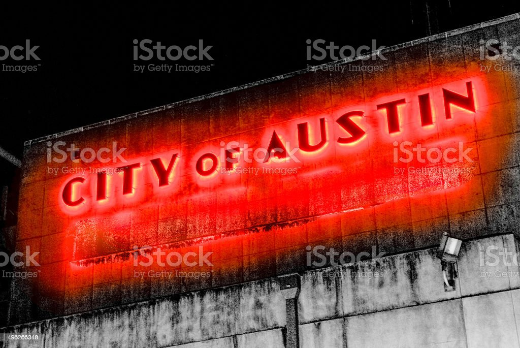City of Austin Glowing Red Gothic Downtown Lights stock photo