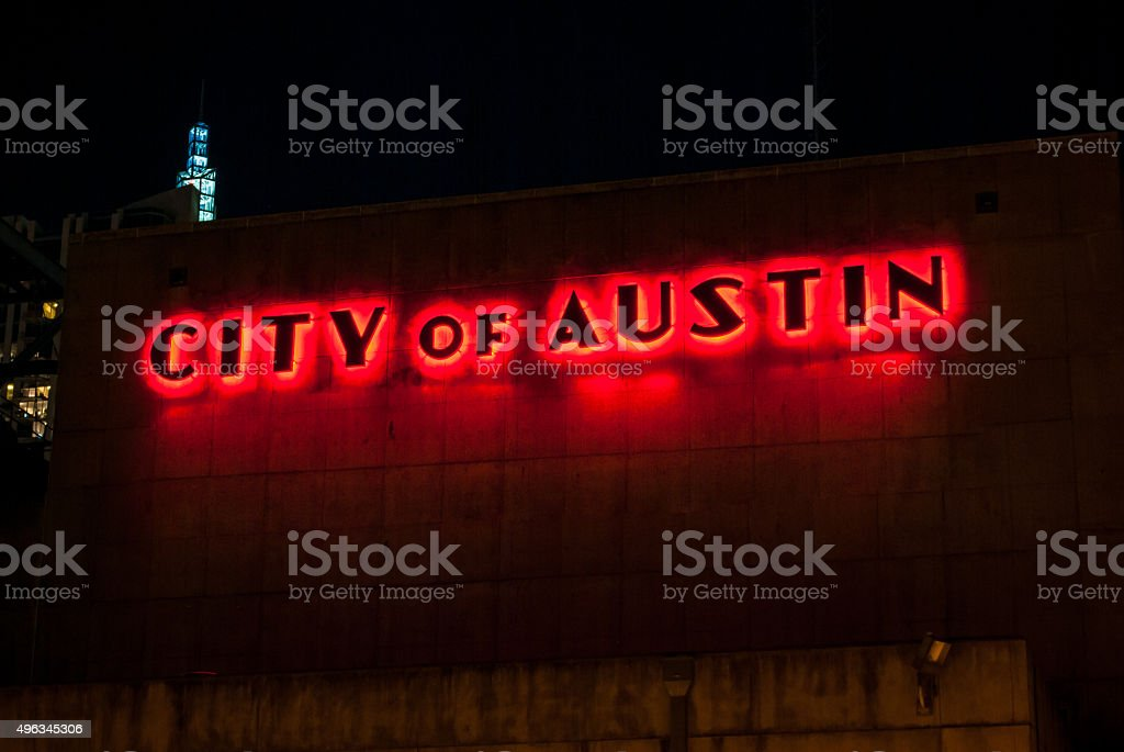 City of Austin Glowing Red stock photo