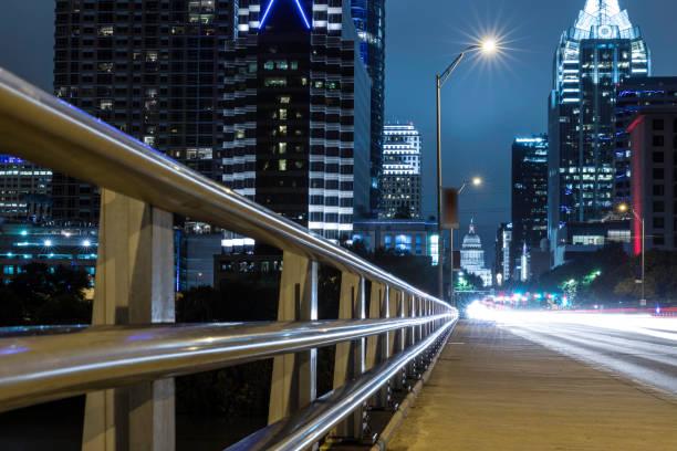 City of Austin Texas Congress Avenue at Night from Congress Avenue Bridge stock photo