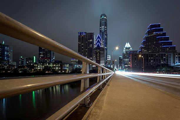 City of Austin Texas Congress Avenue at Night stock photo