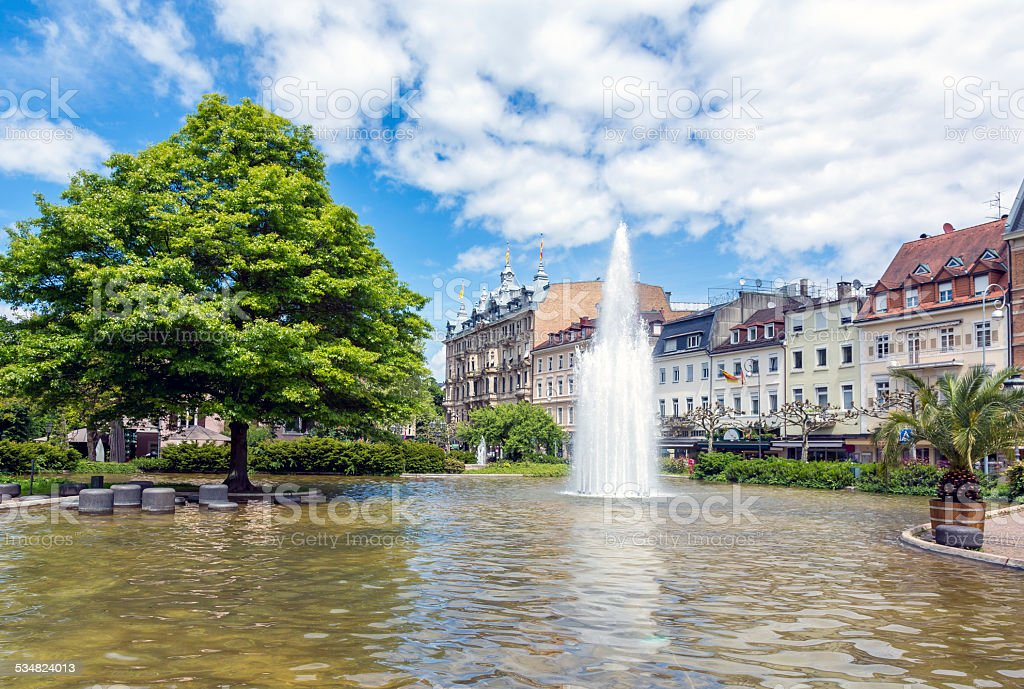 City of Baden Baden Fountain in Summer, Germany stock photo