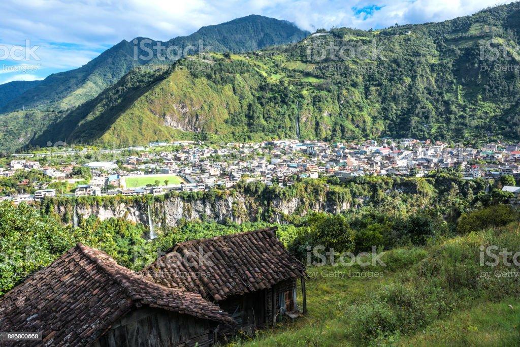 City of Banos de Agua Santa in the Andes of Ecuador'n stock photo
