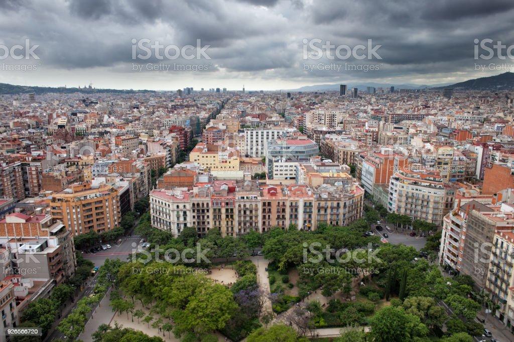 Paisaje urbano de la ciudad de Barcelona - foto de stock