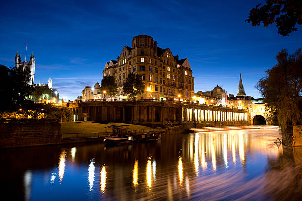 City of Bath at night Bath, Somerset, England, UK bath england stock pictures, royalty-free photos & images