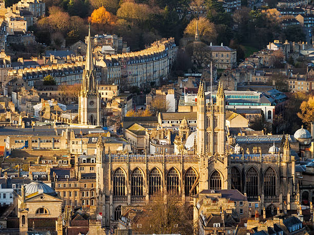 City of Bath Somerset England UK Europe Overlooking the Georgian City of Bath from Alexandra Park on top of Beechen Cliff, Somerset England Uk Europe bath abbey stock pictures, royalty-free photos & images