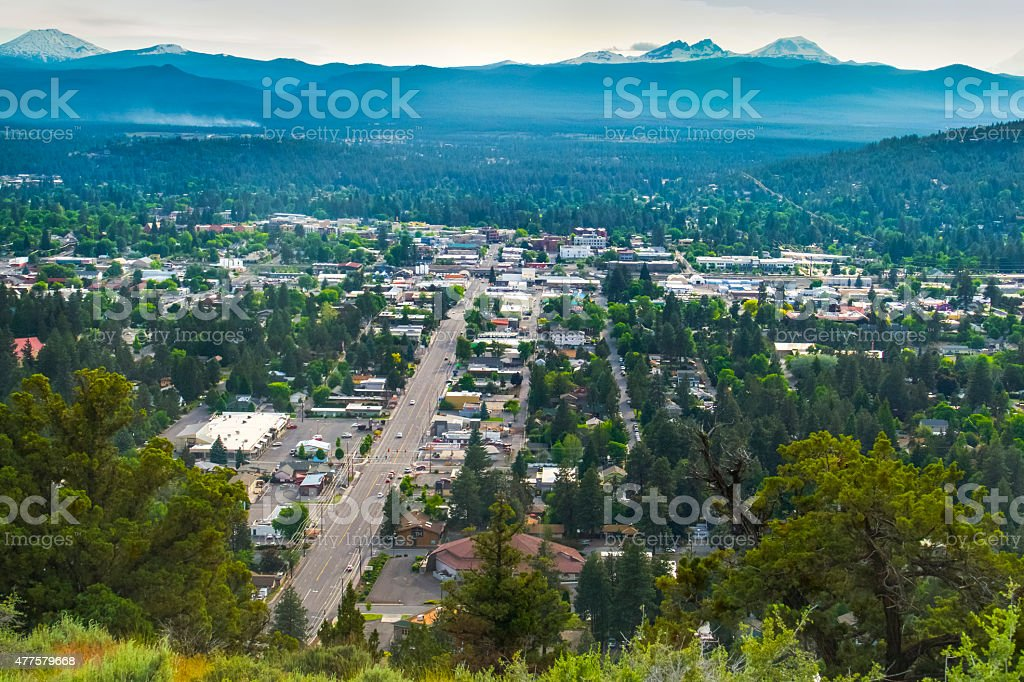 City of Bend, Oregon With Scenic Mountains in Distance stock photo